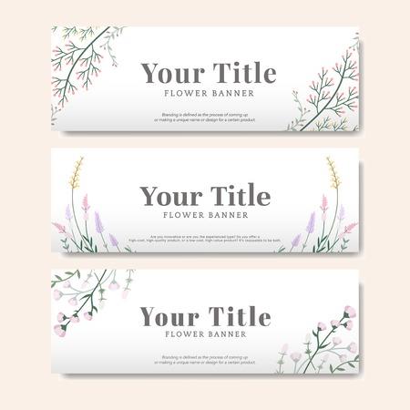Illustration pour Set of flower banner vector - image libre de droit