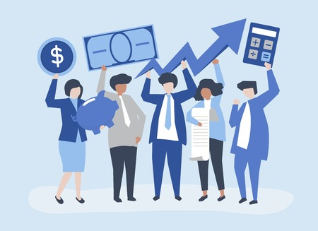Illustration for Business people holding financial growth concept illustration - Royalty Free Image