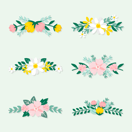 Illustration for Colorful spring floral ornate vectors - Royalty Free Image