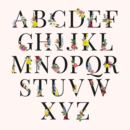 Floral capital alphabet set vector