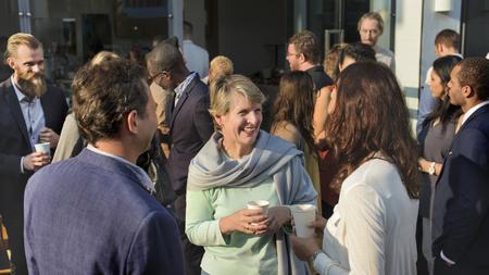 Photo pour Diverse business people in a dinner party - image libre de droit