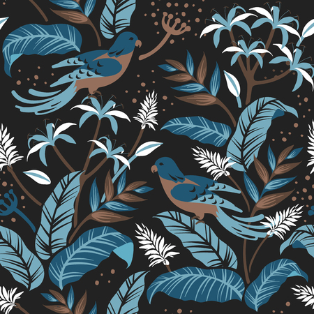 Colorful birds in nature seamless patterned background vector