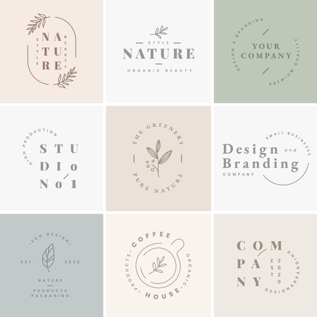 Illustration for Floral brand and logo designs vector collection - Royalty Free Image
