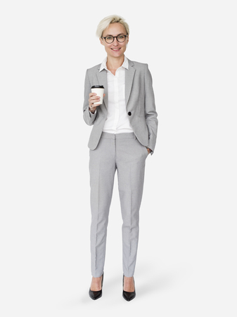 Photo pour Cheerful businesswoman holding a coffee cup mockup character isolated on a white background - image libre de droit