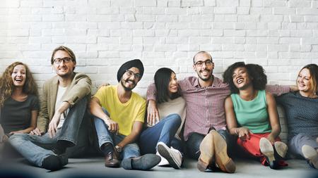 Photo pour Group of cheerful diverse people - image libre de droit