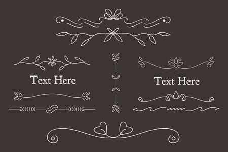 Illustration pour White feminine ornamental dividers vector collection - image libre de droit