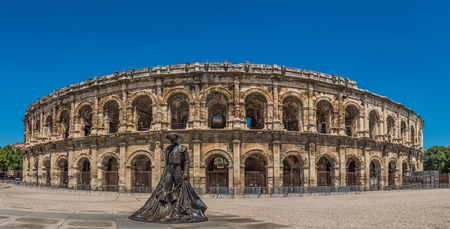 Nimes,France - June 28,2018 :Details of Ancient Roman Amphitheater in Nimes, France