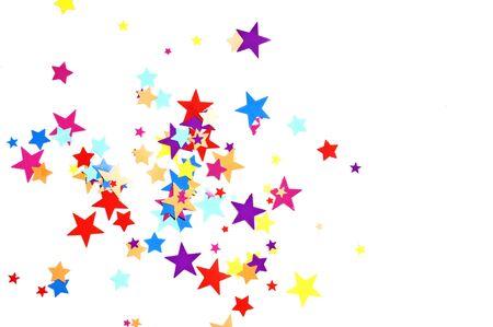 colored stars confetti on white