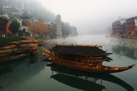 Landscape on the river, Fenghuang, Hunan, China
