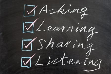 Learning methods concept words written on blackboard
