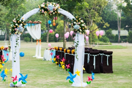 Flower arch for wedding on the lawn