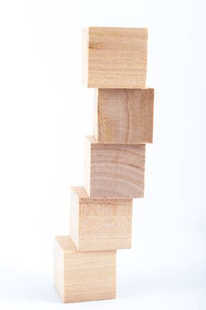 group of wooden blocks on white background