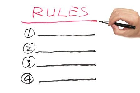 Rules list written on white paper