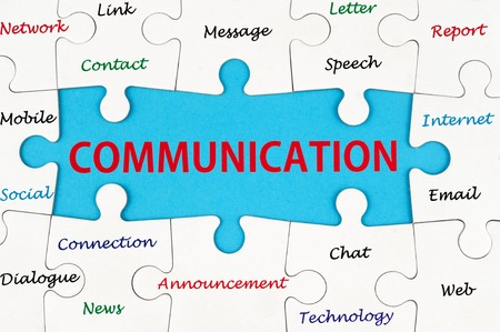 Photo for Communication concept words on group of jigsaw puzzle - Royalty Free Image