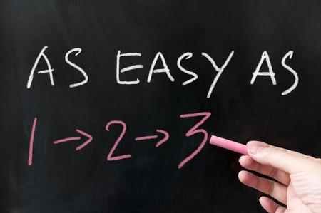 As easy as 123 words written on the blackboard using chalk