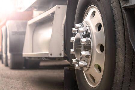 Photo pour Truck driving on road. truck wheel closeup, transportation, Motion blur - image libre de droit