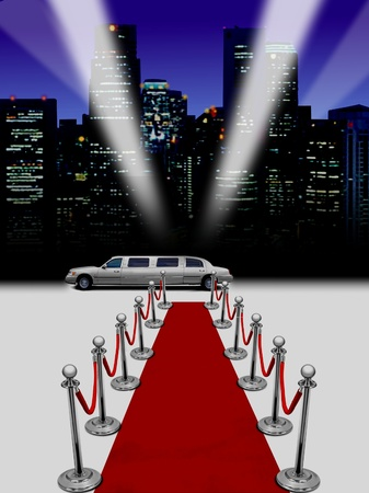 limo with night spot lights