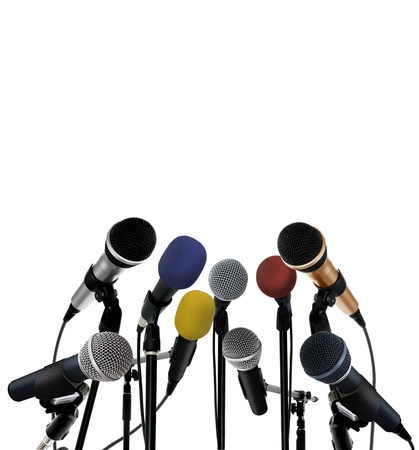 Press conference with standing microphones