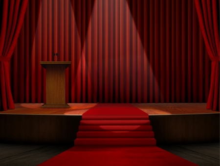 Podium and Red Carpet on Stage