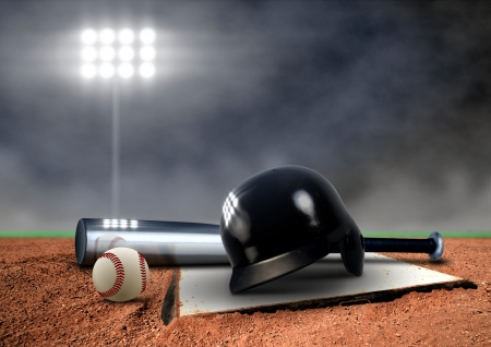 Baseball Equipment under spotlightの写真素材