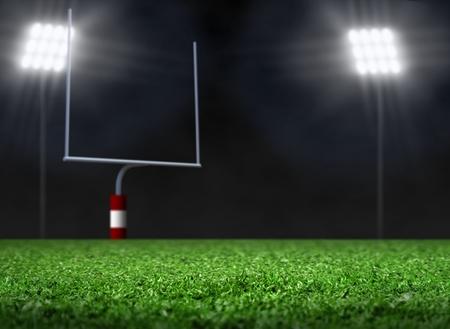 Empty Football Field with Spotlights