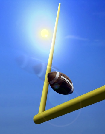 Football and Goal Post under  Sunlight
