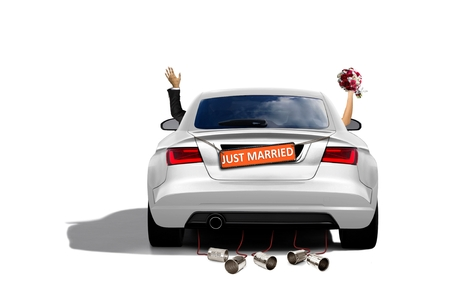 Just Married Couple in a Sport Car