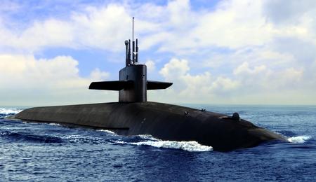 Foto de Naval submarine on open blue sea surface - Imagen libre de derechos