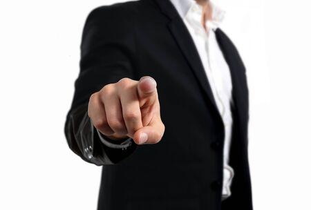 Photo pour Business man pointing finger gesture - image libre de droit
