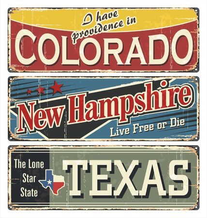 Photo pour Vintage tin sign collection with America state. Colorado. New Hampshire. Texas. Retro souvenirs on rust background. American flag. Patriot. Rodeo. Tradition. Grunge effects can be removed. US. - image libre de droit