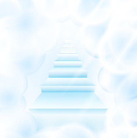 illustration of stairs in cloudy sky