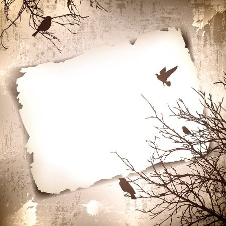 Illustration pour Vintage grunge background with spring birds at tree and copyspace for your text - image libre de droit