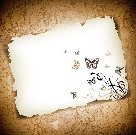 Illustration for Butterflies with floral at burned paper over grunge background - Royalty Free Image