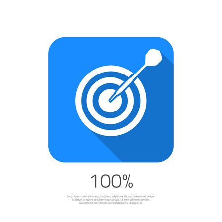 Illustration of Flat  Target 100 Hit the Goal Icon with Long Shadow. Dartboard Success bullseye Icon for your Smartphone App