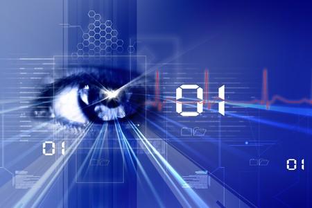 Photo pour  Digital illustration of an eye scan as concept for secure digital identity - image libre de droit