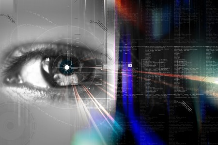 Digital illustration of an eye scan as concept for secure digital identity