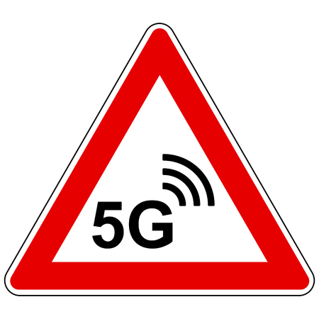 Illustration for 5G wireless and attention sign - Royalty Free Image