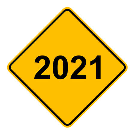 Illustration for Year 2021 and road sign - Royalty Free Image
