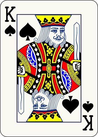 King of Spades, individual playing card - An isolated vector illustration of a classic face card