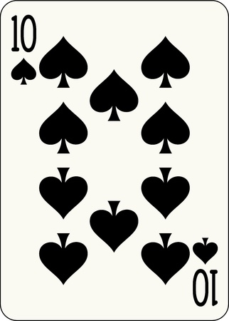 10 of Spades, individual playing card - An isolated vector illustration of a number playing card