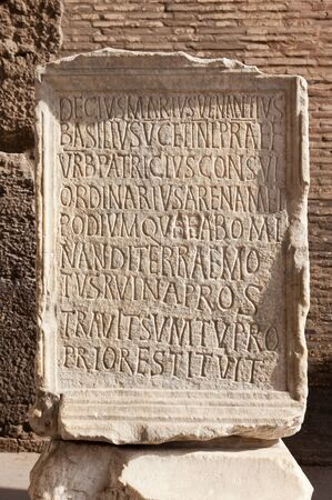 Ancient roman epigraph  Inscription located in Colosseum Arena, Roma, Italy