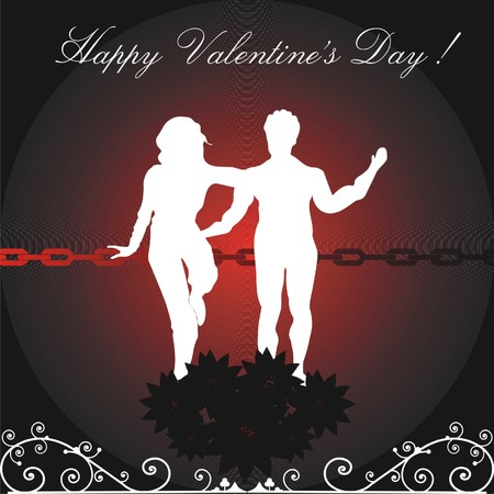 Abstract colorful illustration with young couple standing on a chain near red flowers. Valentine's Day concept