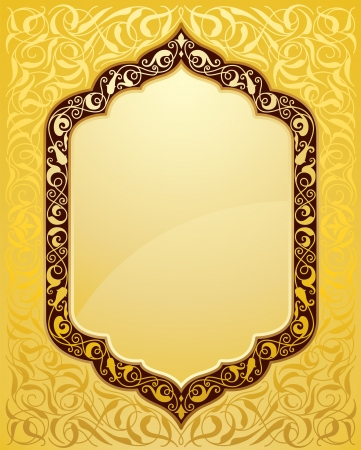 Illustration pour Elegant islamic template design in gold background. Ideal for Eid and Ramdan greetings. - image libre de droit