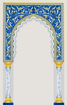 Illustration pour Islamic arch design in classic blue color eps 10 vector - image libre de droit