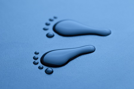 water droplets shape as a foot