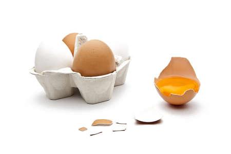 brown egg on white background