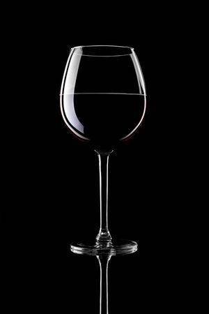 Red Wine Glas silhouette on Black Background