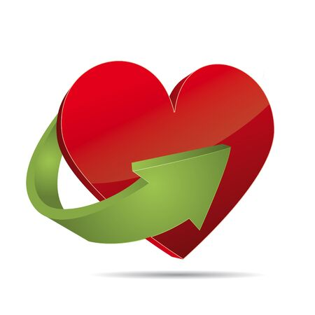 Red 3D Vector heart valentine with arrow