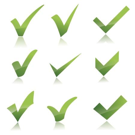 Vector Green  X check haken sign icon set