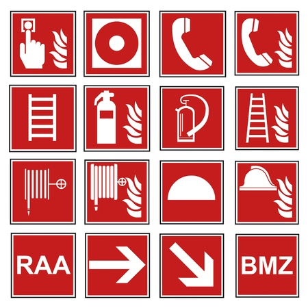 Fire safety sign fire fire warning sign set